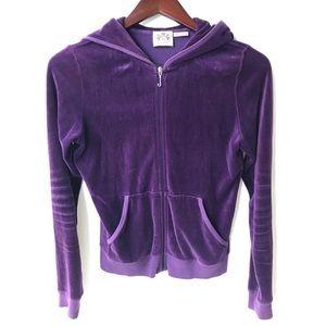 Juicy Couture Purple Velour Hoodie Track Jacket
